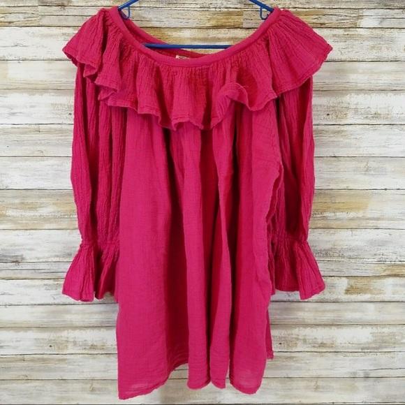 L Amor Tops - L Amor by Greka pink peasant ruffled shirt